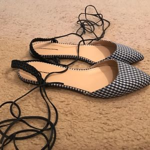 J.CREW SLINGBACK FLATS IN GINGHAM. SIZE: 7M.